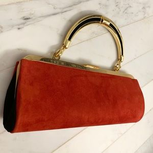 BALMAIN & H&M Red Suede Clutch Bag -one-of-a-kind!